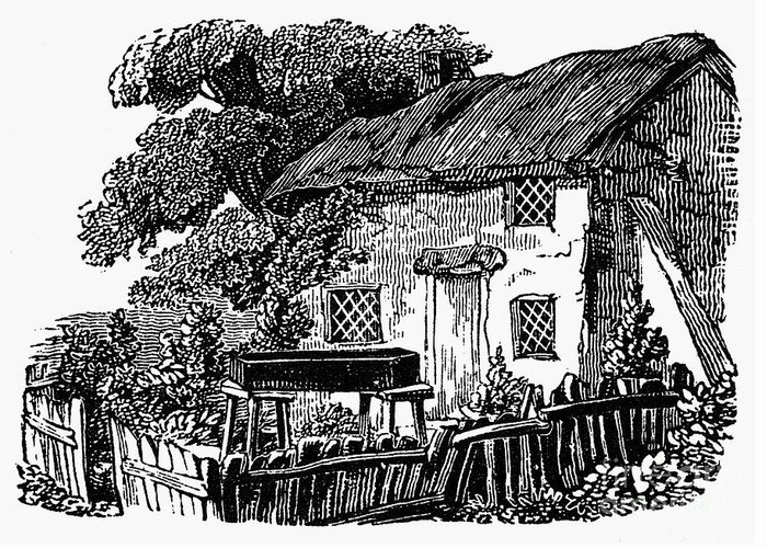 19th Century Greeting Card featuring the photograph Bewick: Rural House by Granger