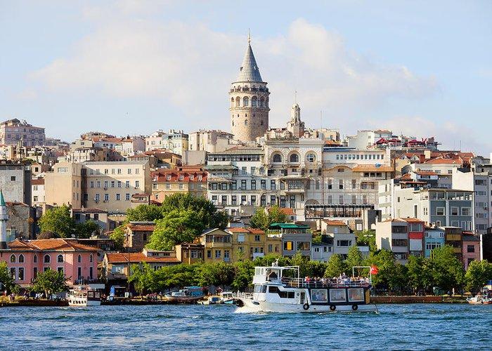 Galata Greeting Card featuring the photograph Beyoglu District In Istanbul by Artur Bogacki