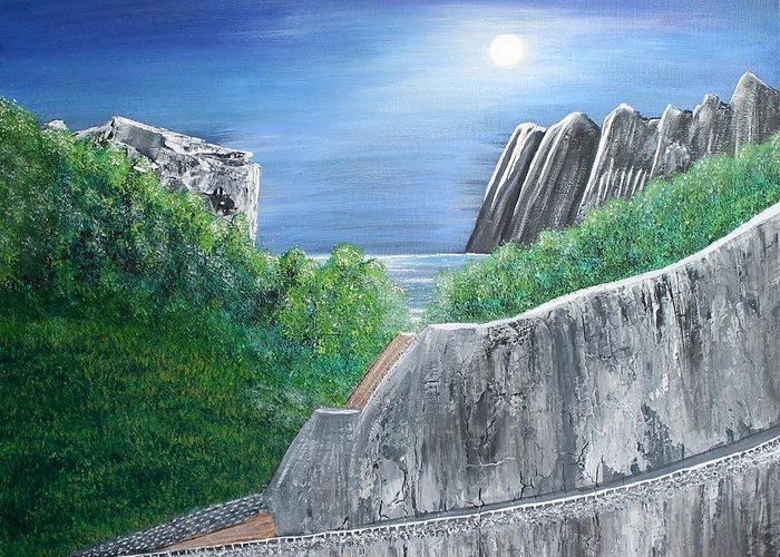 Rocks Greeting Card featuring the painting Beyond the Rock by Debbie Levene