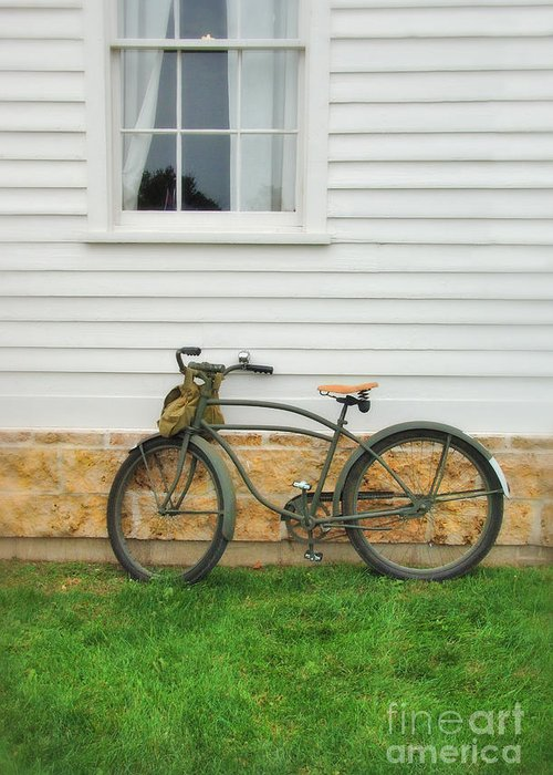 Bicycle Greeting Card featuring the photograph Bicycle By House by Jill Battaglia