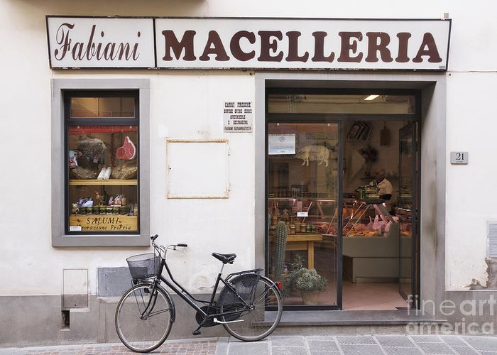 Advertisement Greeting Card featuring the photograph Bicycle In Front Of Italian Delicatessen by Jeremy Woodhouse