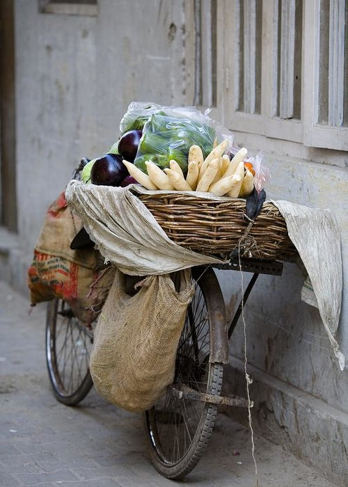 Activity Greeting Card featuring the photograph Bicycle Loaded With Food, Delhi, India by David DuChemin