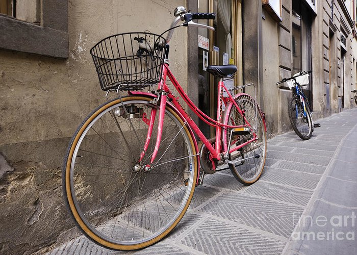 Apartment Greeting Card featuring the photograph Bicycles Parked In The Street by Jeremy Woodhouse
