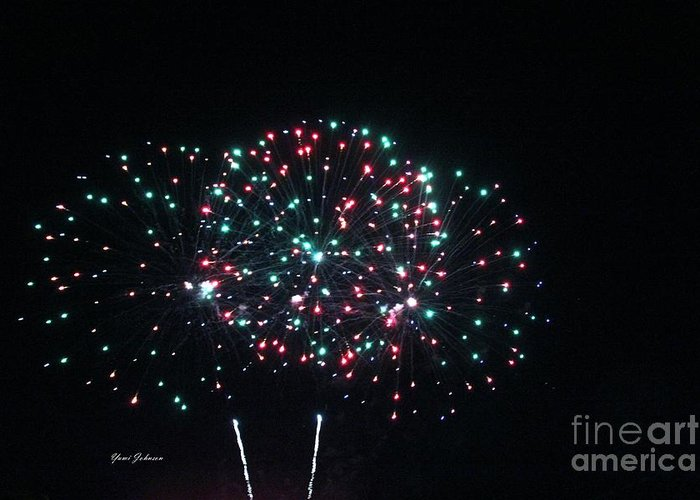Fire Works Greeting Card featuring the photograph Big 3 Rings On Sky by Yumi Johnson