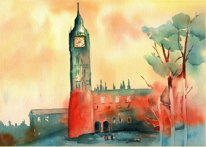 Sharon Mick Greeting Card featuring the painting Big Ben  Elizabeth Tower by Sharon Mick