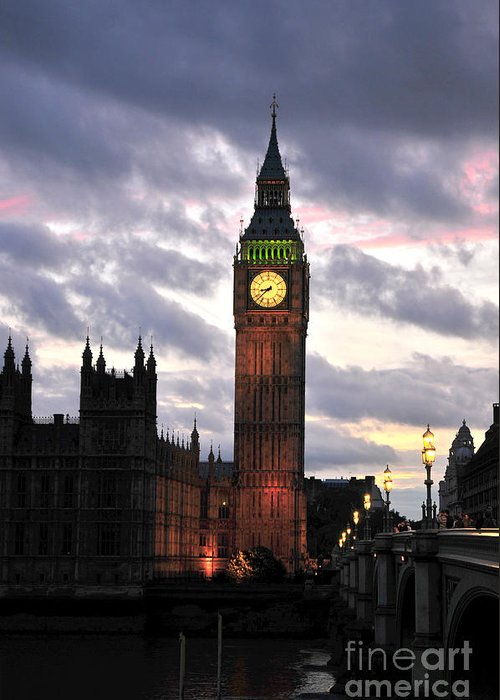 Power Greeting Card featuring the photograph Big Ben Sunset by Jim Chamberlain