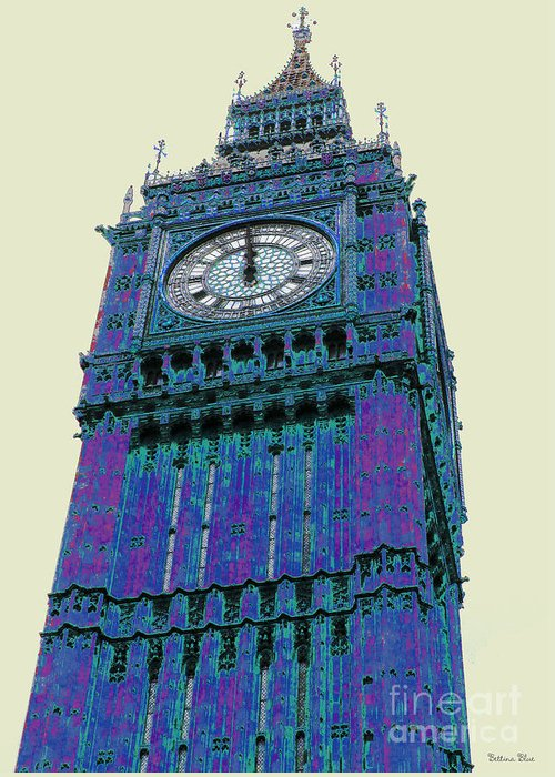 Big Ben Greeting Card featuring the pyrography Big Blue Ben by Beth Saffer
