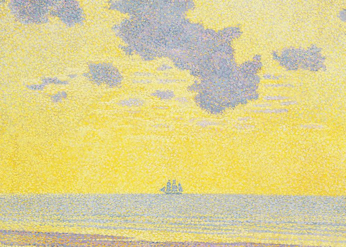 Seascape Greeting Card featuring the painting Big Clouds by Theo van Rysselberghe