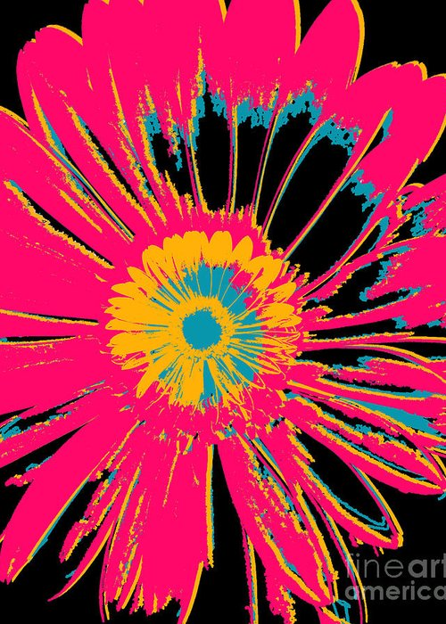 Big Pop Art Greeting Card featuring the mixed media Big Pop Floral by Ricki Mountain