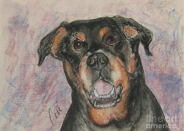 Rottweiler Greeting Card featuring the drawing Big Pussycat by Cori Solomon