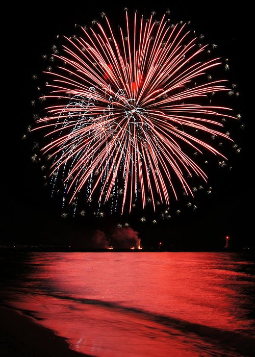 Fireworks Greeting Card featuring the photograph Big Red by Bill Pevlor