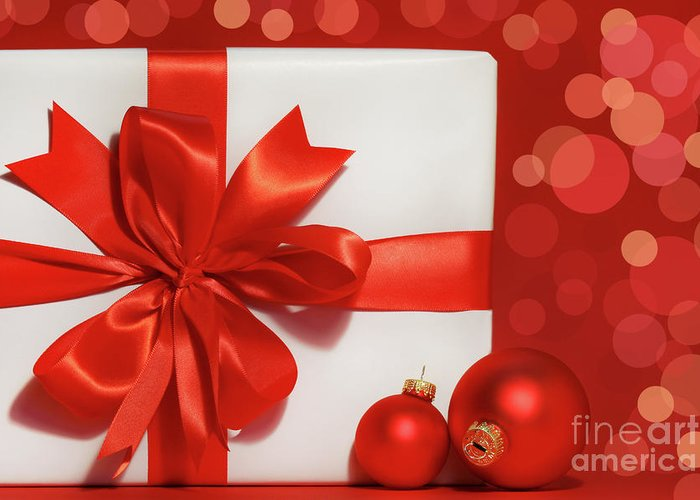 Background Greeting Card featuring the photograph Big Red Bow On Gift by Sandra Cunningham