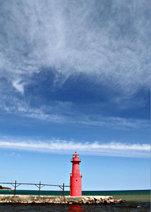 Algoma Greeting Card featuring the photograph Big Sky Over Algoma Lighthouse by Mark J Seefeldt