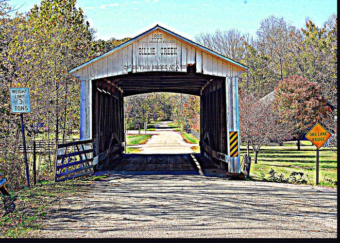 Bridge Greeting Card featuring the photograph Billie Creek Village Covered Bridge by Robin Pross
