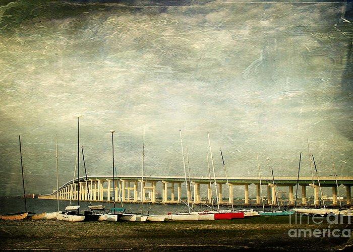 Biloxi Ocean Springs Bridge Greeting Card featuring the photograph Biloxi Bay Bridge by Joan McCool