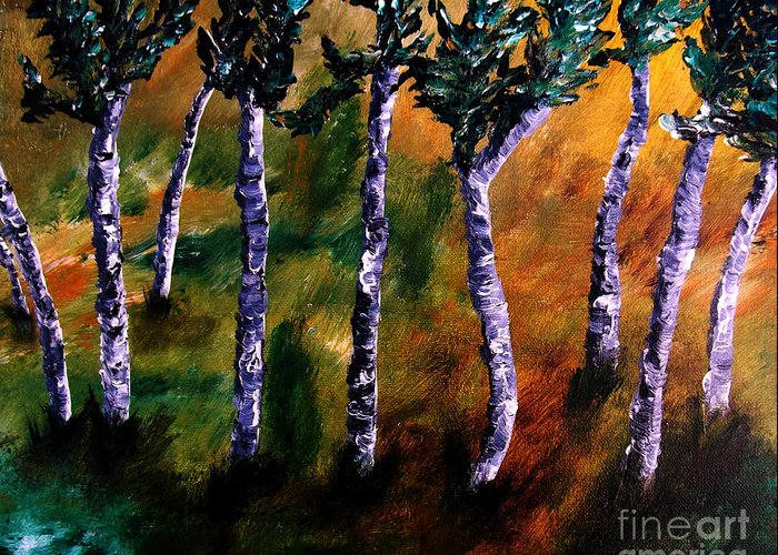 Acrylics Greeting Card featuring the painting Birch Forest by Angela Loya