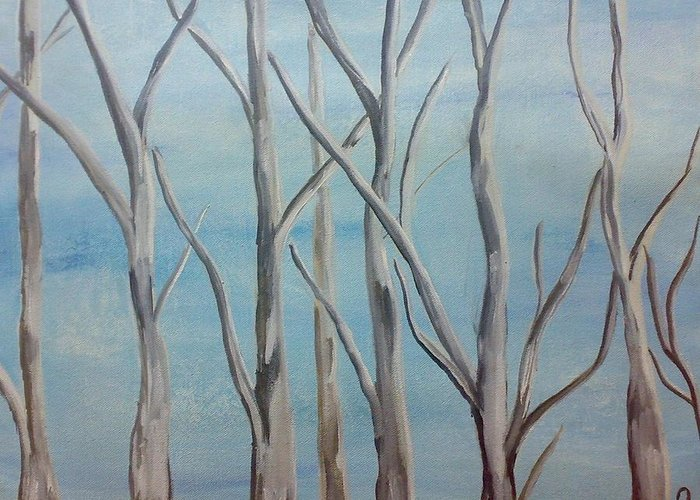 Birch Greeting Card featuring the painting Birch Trees by Puja Chakravarty
