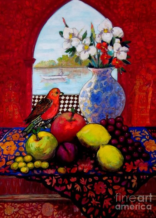 Fruits Greeting Card featuring the painting Bird And Stil Life by Marilene Sawaf