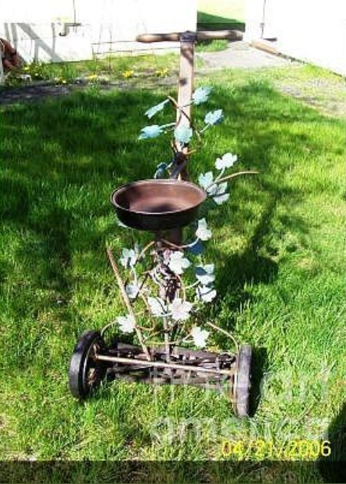 Greeting Card featuring the sculpture Bird Bath Mower by JP Giarde