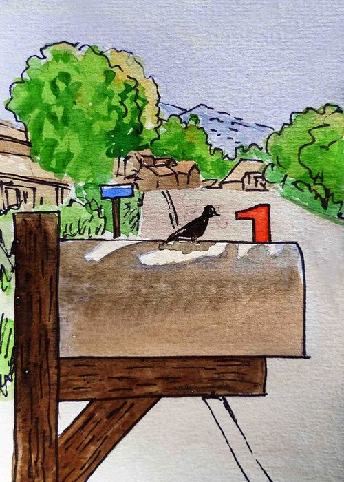 Mailbox Greeting Card featuring the painting Bird On The Mailbox Sketchbook Project Down My Street by Irina Sztukowski