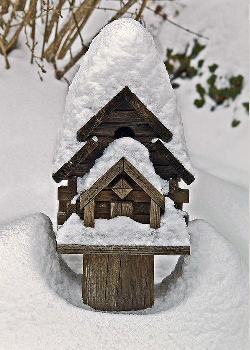 Snow Greeting Card featuring the photograph Birdhouse In Snow by Susan Leggett