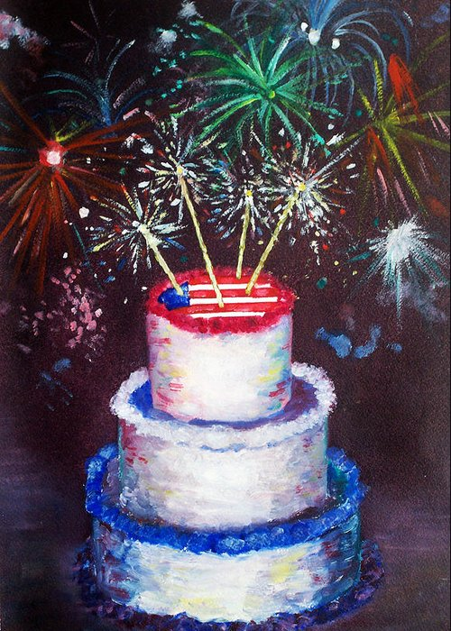 Birthday Greeting Card featuring the painting Birthday In America by Ann Marie Napoli