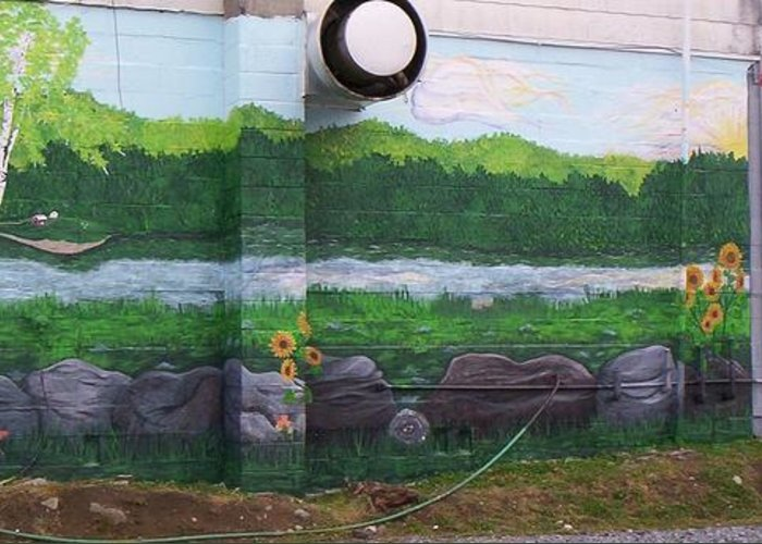 Landscape Public Mural Art Greeting Card featuring the painting Biscuit's Bakery Mural by SHER Millis