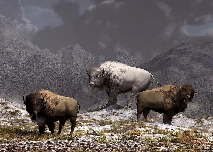 Bison Greeting Card featuring the digital art Bison King by Daniel Eskridge