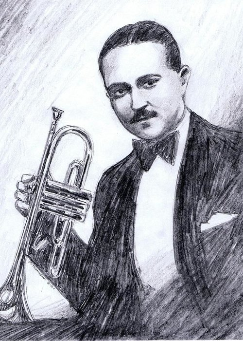 Nostalgia Greeting Card featuring the drawing Bix Beiderbecke 1929 by Mel Thompson