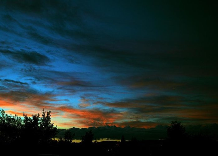 Sunset Greeting Card featuring the photograph Black And Blue by Kevin Bone