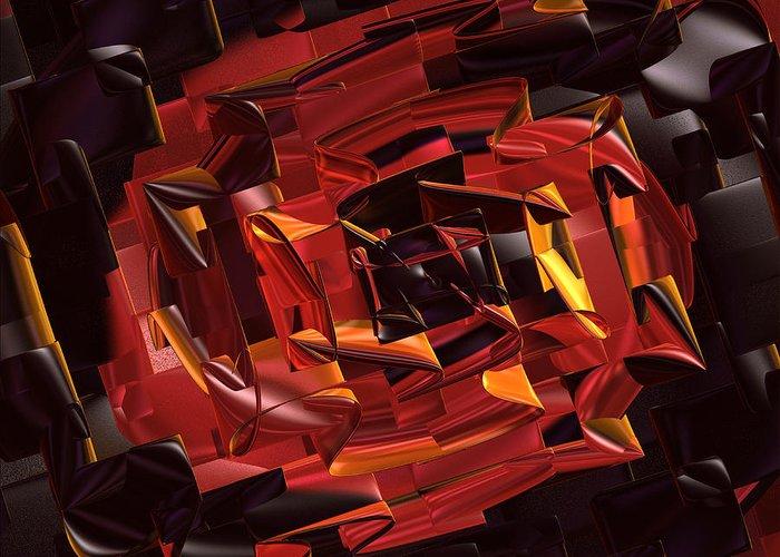 Geometric Greeting Card featuring the digital art Black And Red by Deborah Benoit