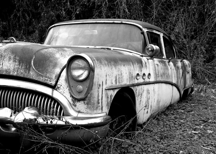 Buick Greeting Card featuring the photograph Black And White Buick by Steve McKinzie