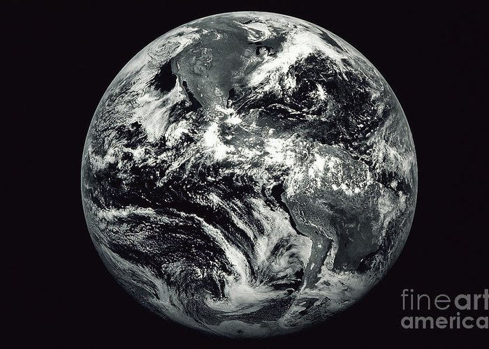 Horizontal Greeting Card featuring the photograph Black And White Image Of Earth by Stocktrek Images