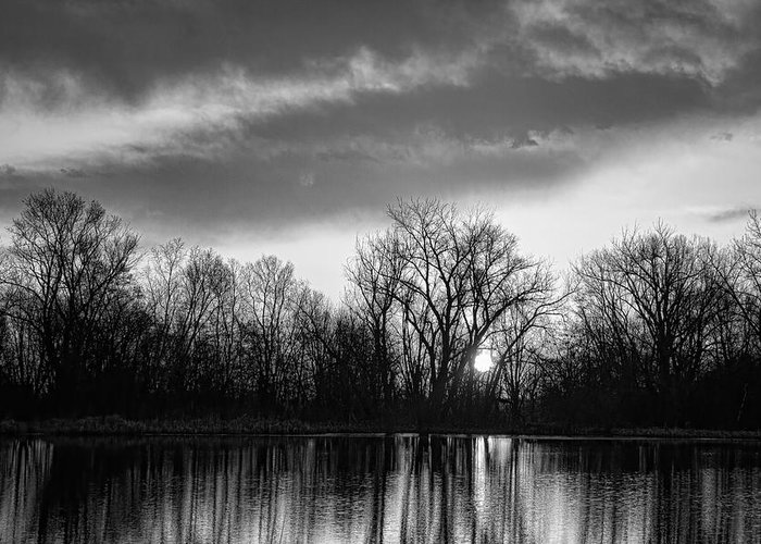 Black Greeting Card featuring the photograph Black And White Sunrise Over Water by James BO Insogna