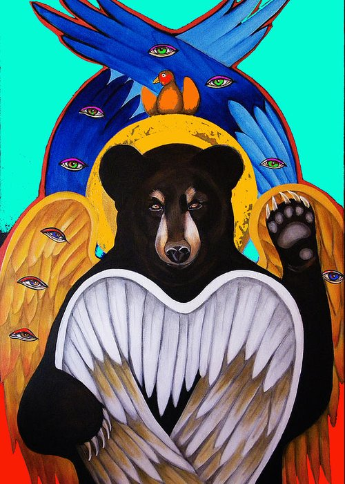 Animal Greeting Card featuring the painting Black Bear Seraphim Photoshop by Christina Miller