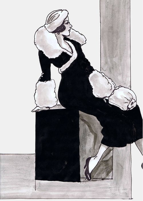 Nostalgia Greeting Card featuring the drawing Black Dress With Fur by Mel Thompson