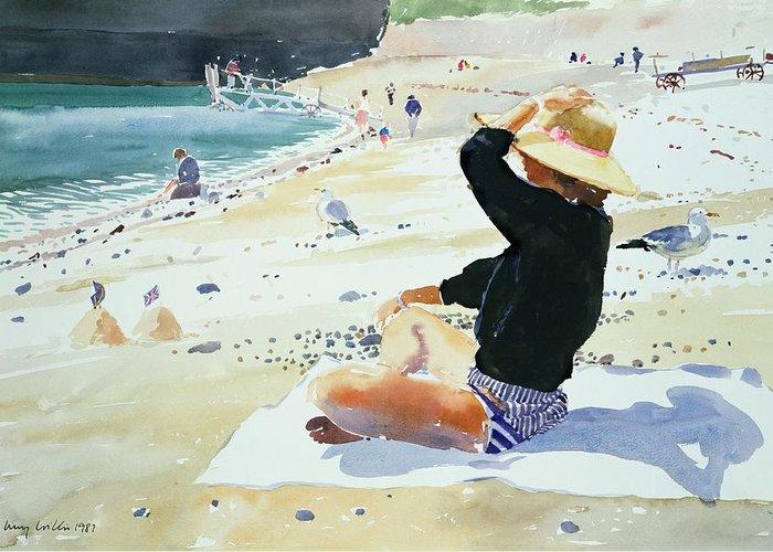 Beach; Sunhat; Seagull; Jetty; Coast; Sandcastle; Flag; Suntan; Tanning; Sea; Towel; Sand; Castle; Holiday; Boat; Launch; Bikini; Seashore; Shadow; Sun; Pebbles; Summer; Sat Greeting Card featuring the painting Black Jumper by Lucy Willis