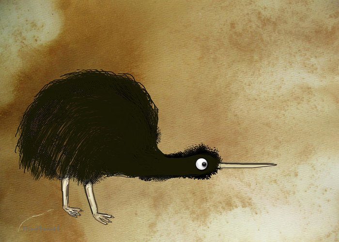 Kiwi Greeting Card featuring the digital art Black Kiwi by Asok Mukhopadhyay