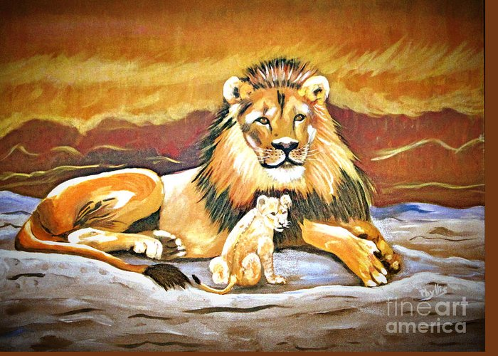 Black Maned Lion Greeting Card featuring the painting Black Maned Lion And Cub by Phyllis Kaltenbach
