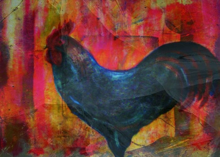 Rooster Greeting Card featuring the mixed media Black Rooster by Joseph Ferguson