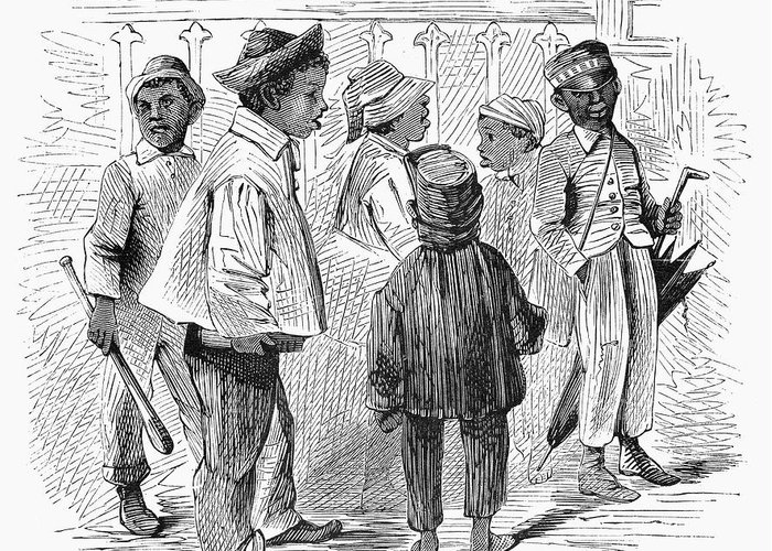 1867 Greeting Card featuring the photograph Black School Children by Granger