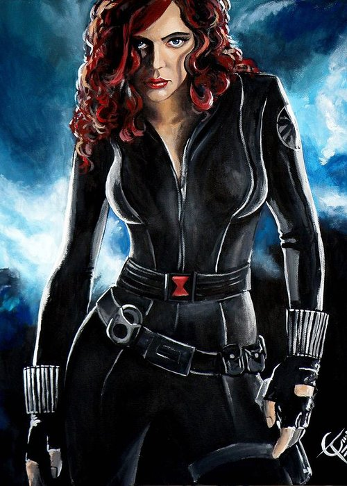 Scarlett Johansson Greeting Card featuring the painting Black Widow by Tom Carlton