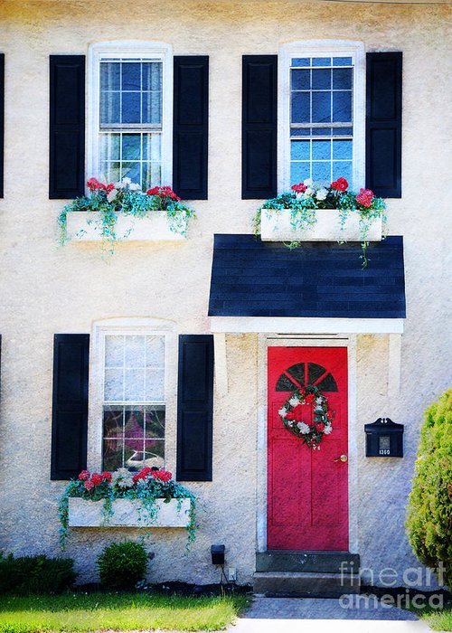 Red Greeting Card featuring the photograph Black Window Shutters With Flowers by Paul Ward