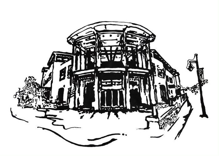 Chancellor Greeting Card featuring the painting Blair Public Library In Fayetteville Ar by Amanda Sanford