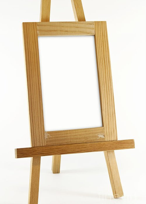 Easel Greeting Card featuring the photograph Blank Vertical Wood Frame by Blink Images