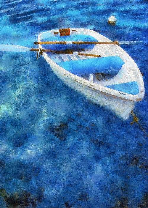 Boat Greeting Card featuring the photograph Blue And White. Lonely Boat. Impressionism by Jenny Rainbow