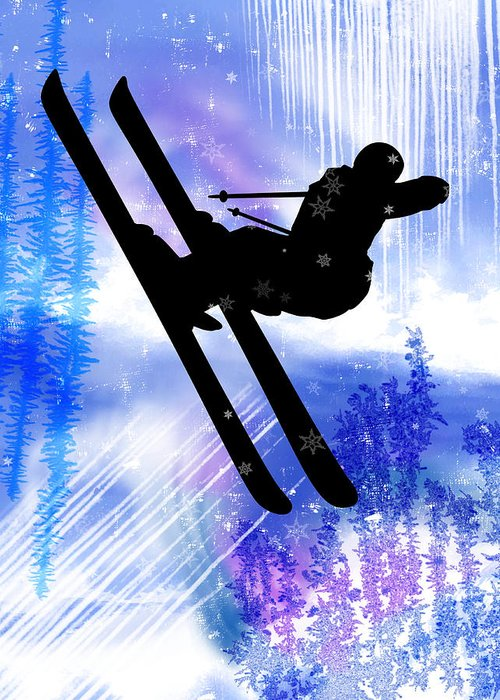 Ski Greeting Card featuring the painting Blue And White Splashes With Ski Jump by Elaine Plesser