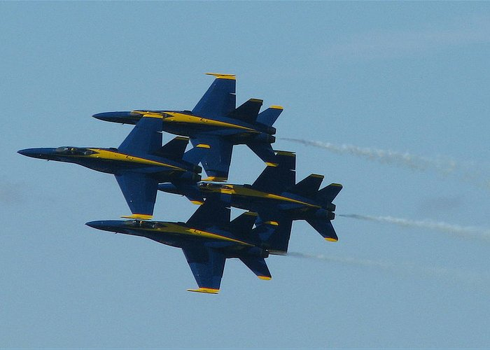 Blue Angels Greeting Card featuring the photograph Blue Angels Diamond From Right by Samuel Sheats