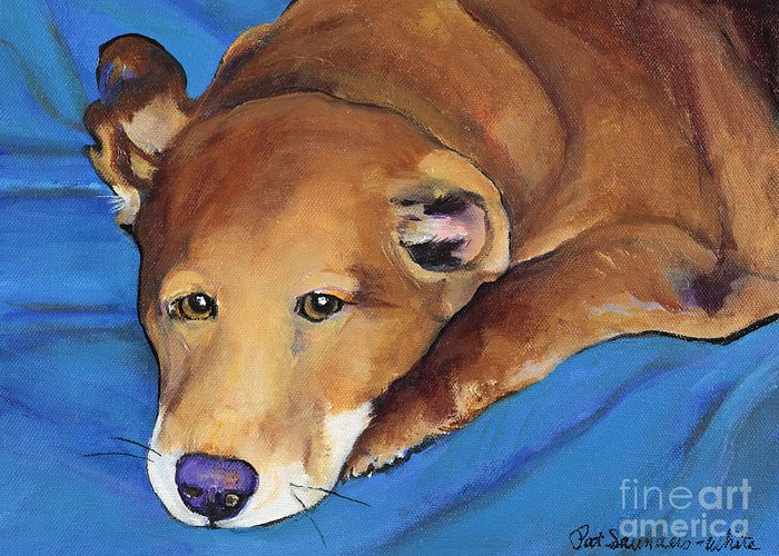 Tired Dg Greeting Card featuring the painting Blue Blanket by Pat Saunders-White