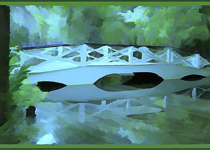 Bridge Greeting Card featuring the painting Blue Bridge in Magnolia by Mindy Newman
